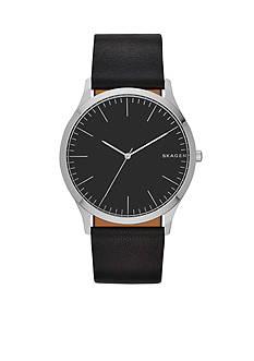 Skagen Men's Jorn Black Leather Watch
