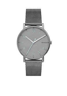 Skagen Men's Gunmetal-Tone Signature Titanium and Steel-Mesh Watch