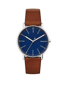 Skagen Men's Silver-Tone Signature Leather Watch