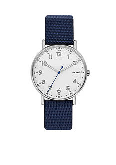 Skagen Men's Silver-Tone Signature Nylon Watch