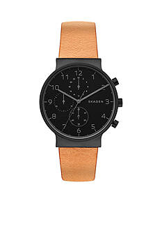 Skagen Ancher Leather Chronograph Watch