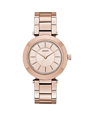 DKNY Stanhope Rose Gold-Tone Stainless Steel Three-Hand Glitz Watch - Online Only