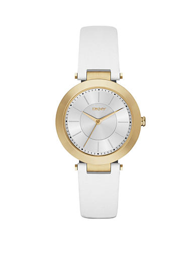 DKNY Stanhope White Leather Three-Hand Watch - Online Only