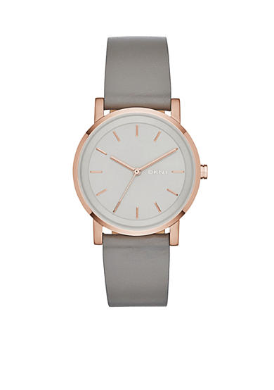 DKNY Grey Leather and Rose Gold-Tone Case SOHO Three-Hand Watch