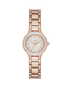 DKNY Women's Chambers Rose Gold-Tone Stainless Bracelet 3-Hand Watch