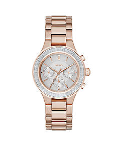 DKNY Women's Chambers Rose Gold-Tone Stainless Steel Multi-Function Watch