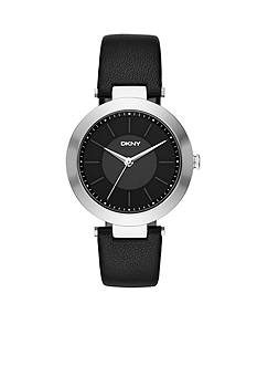 DKNY Women's Stanhope Black Leather Three-Hand Watch