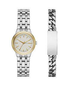 DKNY Women's Two-Tone Park Slope Stainless Steel Three-Hand Watch and ID Bracelet Set
