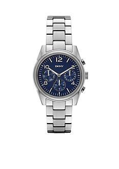 DKNY Women's Silver-Tone Crosby Dark Blue Dial Chronograph Watch