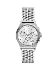 DKNY Women's Silver-Tone Parsons Stainless Steel Chronograph Watch