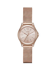 DKNY Women's Rose Gold-Tone Parsons Stainless Steel Three-Hand Watch