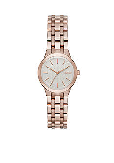 DKNY Women's Rose Gold-Tone Park Slope Stainless Steel Three-Hand Watch