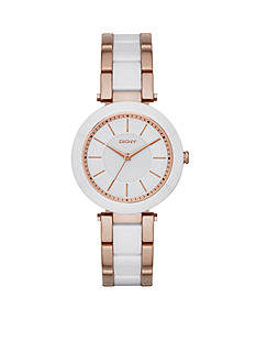 DKNY Women's Rose Gold-Tone Stanhope White Ceramic and Stainless Steel Three-Hand Watch