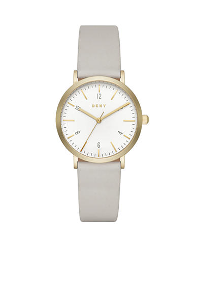 DKNY Women's Minetta Gold-Tone and Plaster Leather Three-Hand Watch