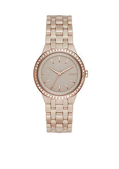 DKNY Women's Park Slope Rose Gold-Tone and Grey Ceramic Three-Hand Watch