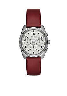 DKNY Women's Crosby Lacquer Leather and Grey IP Chronograph Watch
