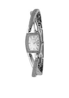 DKNY Silver Cross Over Bangle Bracelet Watch