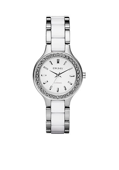 DKNY Ladies Stainless and White Ceramic Bracelet Watch
