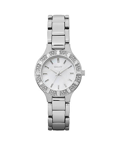 DKNY Ladies' Stainless Steel Baguette Crystal Watch