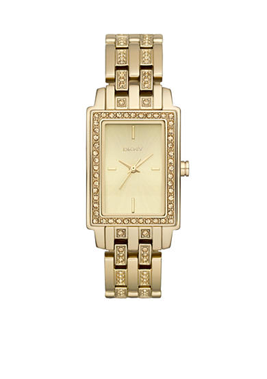 DKNY Ladies Gold Tone Small Rectangular Champagne Glitz Watch
