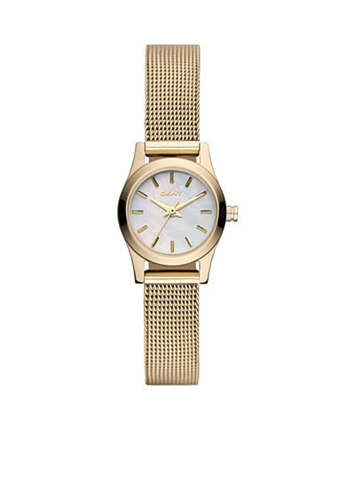DKNY Ladies' Gold-Tone Broadway Round Mini Watch Mesh Bracelet