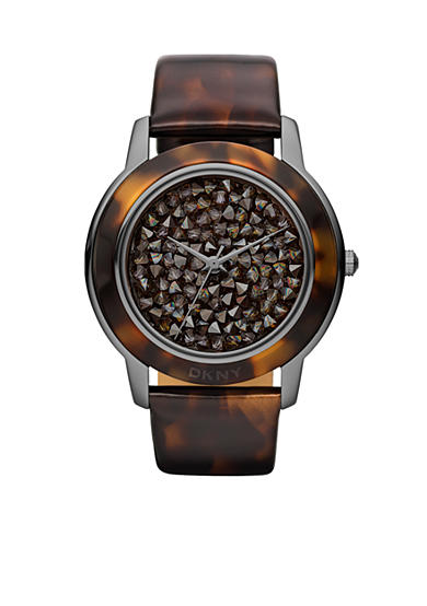 DKNY Ladies Locked & Loaded Smoke Grey and Faux Tortoise Round Glitz & Resin Bracelet Watch