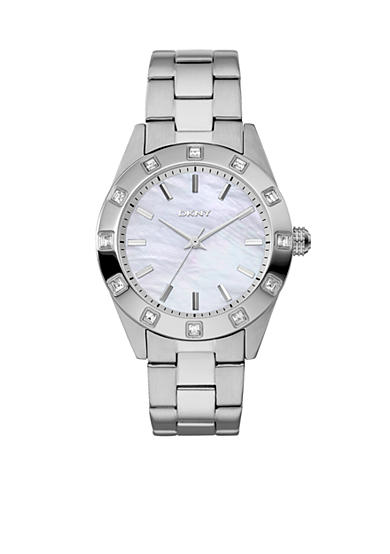 DKNY Ladies' Silver-Tone Round Mother-of-Pearl Glitz Nolita Watch