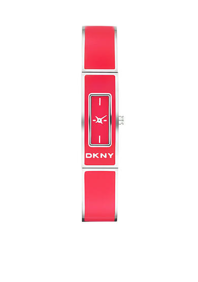DKNY Ladies Coral Enamel and Silver-Tone Stainless Steel Bangle