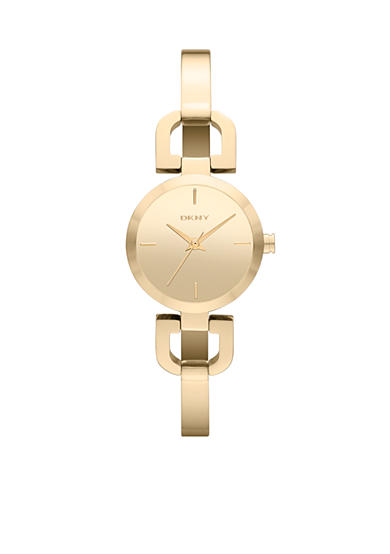 DKNY Women's Gold Tone Stainless Steel D-Link Bracelet Two-Hand Watch