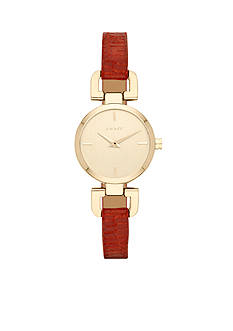 DKNY Ladies' Red Leather and Gold-Tone Stainless Steel Three-Hand Watch