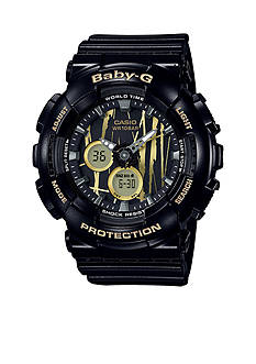 Baby-G Women's Black with Gold Slash Face Ana-Digi Baby-G Watch