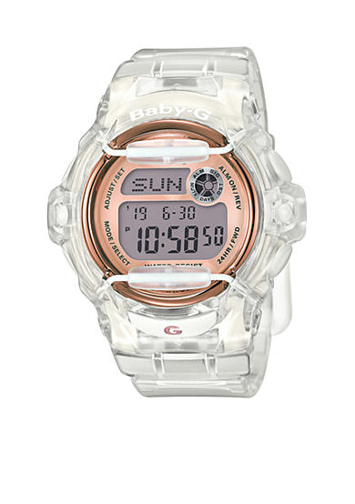 Baby-G Women's Clear Jelly With Rose Gold Face Ana-Digi Watch