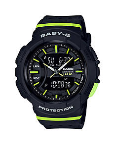 Baby-G Women's Black With Lime Green Accents Ana-Digi Sport Watch