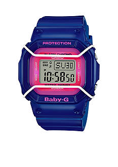 Baby-G Women's Blue with Pink Square Digital Baby G Watch