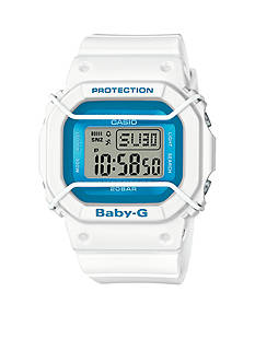 Women's White with Blue Accent Digital Baby-G Watch