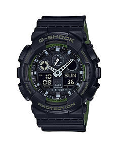 G-Shock Men's Black With White Accent And Dual Layered Band Watch