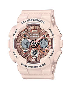 G-Shock Women's Blush Band with Rose Gold-Tone Metallic Face Ana-Digi S-Series G-Shock Watch