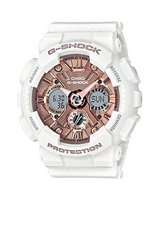 G-Shock Women's White Band with Rose Gold-Tone Metallic S-Series G-Shock Watch