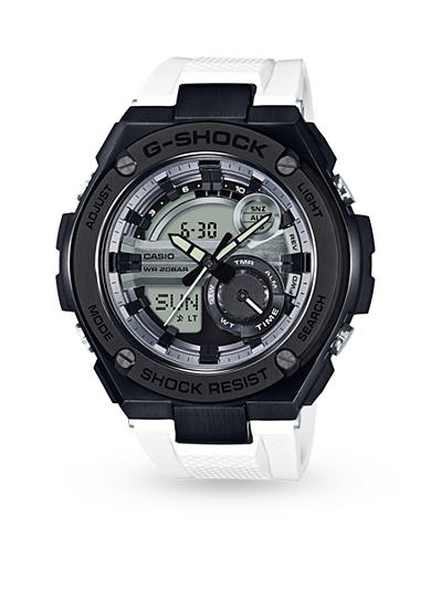 G-Shock White Resin Band with Black IP Head Watch