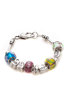 Kim Rogers Boxed Multi Colored Stone and Silver-Tone Inspirational Scripted Charmable Bracelet
