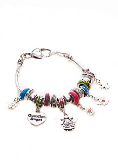 Kim Rogers® Multi Colored Charmable Bracelet with Angels, Hearts, Flower Charm Drop Off Boxed Bracelet