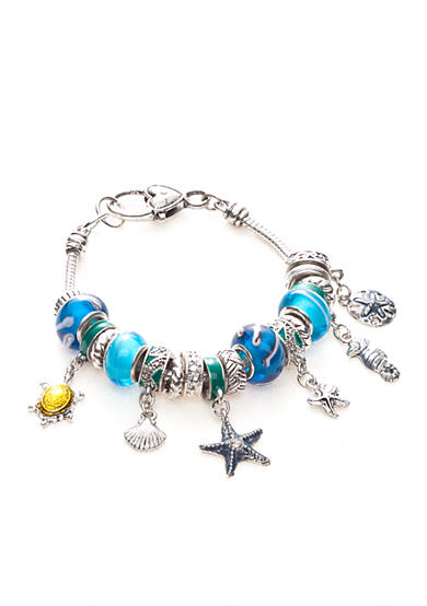 Kim Rogers® Boxed Silver-Tone, Blue and Green Charmable Bracelet with Sea Life Motif Charms