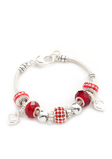 Kim Rogers® Red Pave Heart Charm Boxed Bracelet