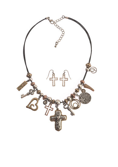 Kim Rogers® Two-Tone Multi Inspirational Heart and Cross Charm Necklace and Earring Set
