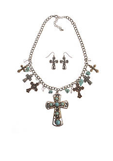 Kim Rogers® Tri-Tone Turquoise Cross and Heart Charm Necklace and Pierced Earring Set