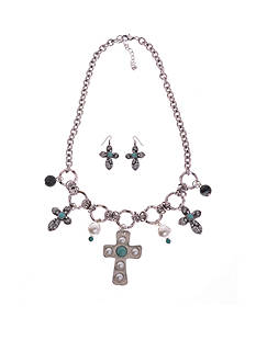 Kim Rogers Silver-Tone Turquoise Cross and Earring Set
