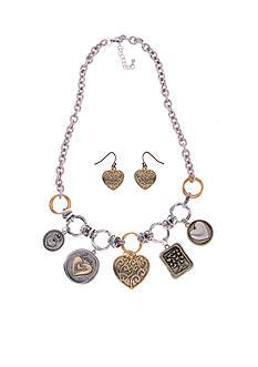 Kim Rogers Two-Tone Tree of Life Heart Pendant and Earring Set