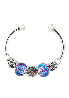 Kim Rogers® Silver-Tone Blue Bead Cuff Boxed Bracelet