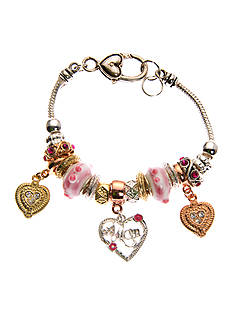 Kim Rogers® Tri-Tone Pink Glass and Heart Charm Boxed Bracelet
