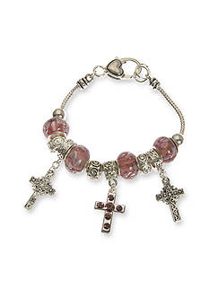 Kim Rogers Silver-Tone Box Cross Purple Charm Bracelet